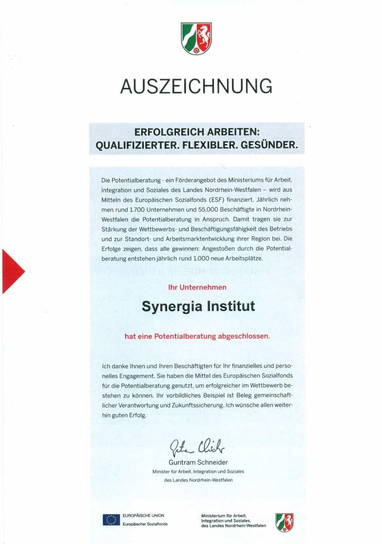 Auszeichnungs NRW Synergia Institut